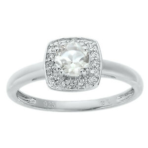 Lavari - .56 Ct Round Natural White Topaz 925 Sterling Silver Ring