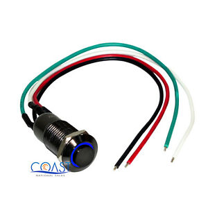 Durable 12mm Elevated Black Button Blue Angel Eye LED Latching Switch Harness