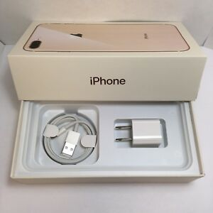 IPHONE 8 Plus EMPTY RETAIL BOX AND NEW ACCESSORIES plug charger manual sim