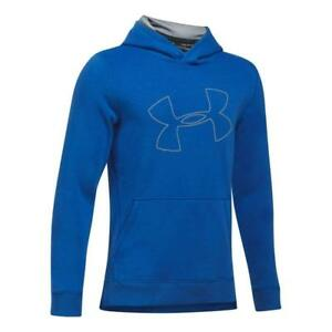 UNDER ARMOUR Hoodie XL THREADBORNE TILT Blue Steel Youth Fleece Large Logo NWT