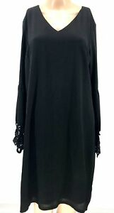 $180 MSK WOMEN'S BLACK LONG LACE BELL-SLEEVE SHORT LENGTH COCKTAIL DRESS SIZE L