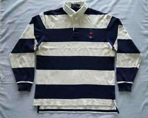 Vintage Polo Sport Bear Rugby Striped Polos T Shirt Stadium 92 Snow Beach P Wing