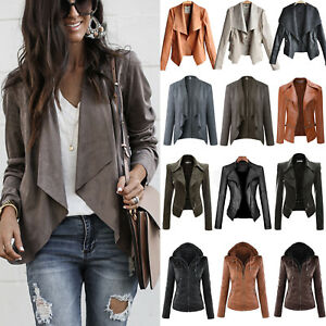 Women's PU Leather Biker Jackets Motorcycle Outwear Parka Casual Coat Outwear