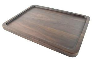 Black Walnut Solid Wood Rectangular Tableware Serving Tray Platter with gripper
