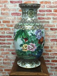 Pair Of Old Very Rare Huge Cloisonne Vase 31.80lb Each (With Two Stands)