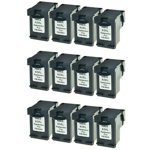 12 Refilled Black Ink Cartridge Compatible with HP 63XL #63 XL Deskjet 2132 3630