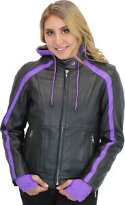 Women's Motorcycle Leather Jacket with Purple Hoodie Purple Accents