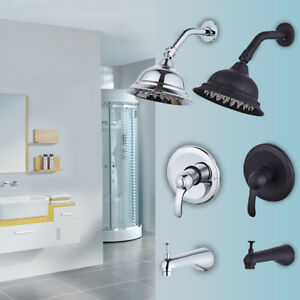 Rainfall Shower Faucet - Showerhead Tub Spout and Diverter Valve Ceramic Valve