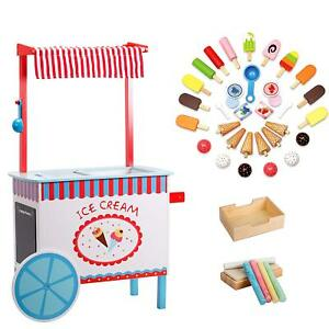 Svan Ice Cream Cart Real Wood Construction with Money Box Chalkboard Chalk an