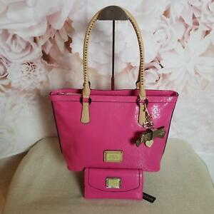 Guess Women's Tote Shoulder Handbag Patent Leather Hot Pink WMatching Wallet