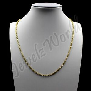 Real 10K Solid Yellow Gold 2mm Rope Chain Diamond Cut Pendant Necklace 14 30