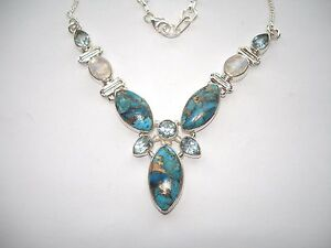 AB Unique Turquoise Rainbow Moonstone Blue Topaz Necklace .925 Sterling Silver