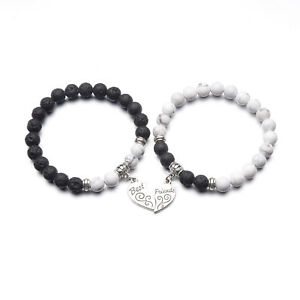 Love Heart Engraved Bracelets Best Friend Styels with Stone Beads Chain Unisex