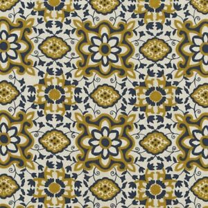 LEE JOFA KRAVET SPANISH TILES CREWEL EMBROIDERY LINEN FABRIC 10 YARDS BLUE GOLD
