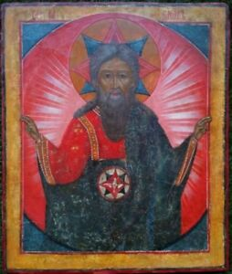 ANTIQUE 18C RUSSIAN HAND PAINTED ICON OF GOD THE FATHER(САВАОФ) RARE!