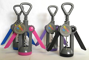 Home Basics Set of 4 Multi-colored Wing Style Wine Corkscrew