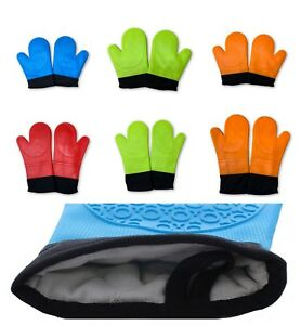 2 Extra Long Silicone Professional Oven Glove Mitts Textured Grip Quilted Lining