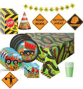 Construction Truck Party Deluxe Birthday Baby Shower Kit with Plates Cups...