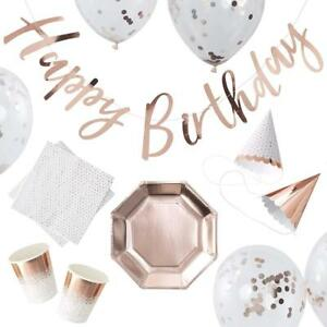 Rose Gold Foiled Birthday Party in a Box - 16 pieces