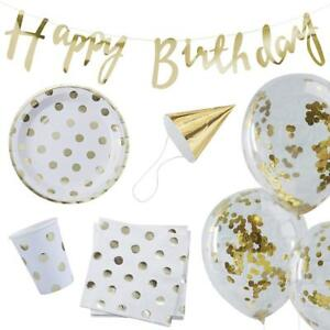 Gold Foiled Happy Birthday Party in a Box - 16 pieces