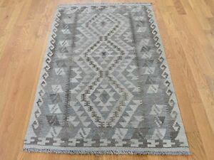 3#x27;2quot;x5#x27; Undyed Natural Wool Afghan Kilim Reversible Hand Woven Rug G43814 $167.40