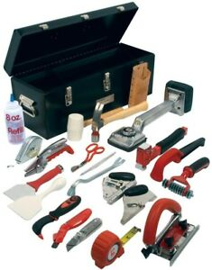 Roberts Carpet Installation Tool Kit Cutters Hammers Knives Steel Box (22-Piece)
