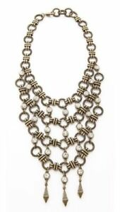 NEW DANNIJO KAMI Antique gold & Crystal Long Bib Necklace