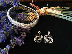 925 Sterling Silver Micro Pave CZ Hinged Bangle Bracelet & 925 Silver Earrings