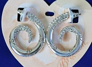 Brighton CRISTALINA NWT Silver Crystal Hoop Post Earrings