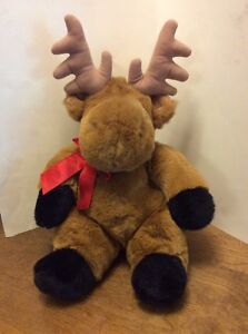 FAO Schwarz Plush Sitting Moose Brown And Black 16 Red Bow Soft $20.00