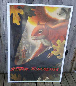 Original Vintage 1955 Western-Winchester Lithograph Advertising Squirrel Poster
