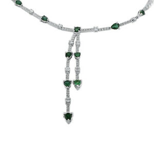 18K White Gold Natural Emerald Diamond Princess Necklace Classic Women Gift