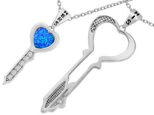 Star K His Hers Key to my Heart Couple 2pcs Pendant Necklace Set Blue Create...