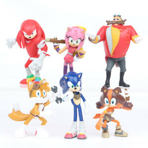 Sonic The Hedgehog Knuckles Tails 6 PCS Action Figure Kids Gift Cake Topper Toys