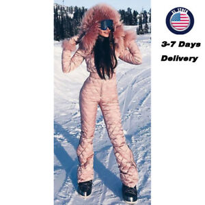 Womens Ski Suits Solid Long Warm Cute Skiing Winter One Piece Overall Snowsuits