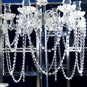 5/10/15m Clear Crystal Acrylic Bead Garland Chandelier Hanging Wedding Supplies