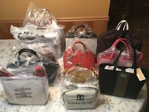 Lot Of 12 NWT Leather Designer Bags Michael Kors ValentinaE. Aigner Gianni N.👀