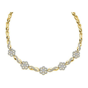14K Yellow Gold 2.00ctw Fancy Pave Diamond Flower & Infinity Link Necklace