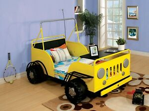 Trekker II Rover Design Front Hood Table Yellow Twin Bed w Safety Side Rails