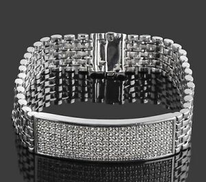 2.90 Ct Men's ID Real Diamond Flexible Bracelet 14k White Gold 48.8g 8