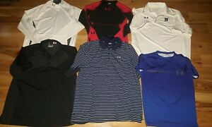 LOT of 6 Under Armour Mens Polo Shirt sz. XL  compression coldgear fitted loose