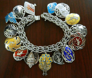 Vintage Sterling Charm Bracelet Siam Sterling Niello Enamel Charms From Earrings