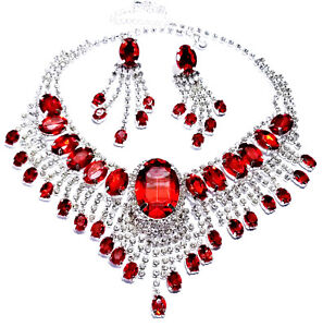 Red Rhinestone Austrian Crystal Choker Necklace Earring Set Pageant Bridal Prom