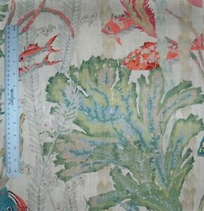COWTAN & TOUT MARALAGO TROPICAL UNDER THE SEA FISHES FABRIC 10 YARDS CREAM GREEN
