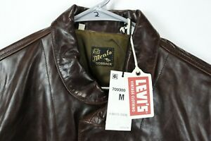 Menlo Cossack NWT $995 Levis Vintage Italy Brown Leather Jacket Einstein Mens M