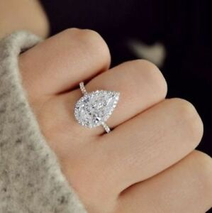 3.35 Ct Pear Brilliant Cut Diamond Halo Round Cut Pave Engagement Ring GVS2 GIA
