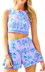 Lilly Pulitzer Neri 2 Pc Set Fruity Monkey Shorts + Crop Top Size XL New