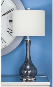 Table Lamp 27 in. x 13 in. Dimension Translucent Gray Glass Silver-Finished Base
