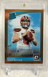🔥 Baker Mayfield BRONZE PRIZM SSP ROOKIE MINT! 2018 Donruss Optic Browns ROY