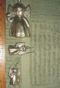 VTG 925 STERLING SILVER PUFFY ANGEL PENDANT COOKIE CUTTER BRACELET EARRING SET 3